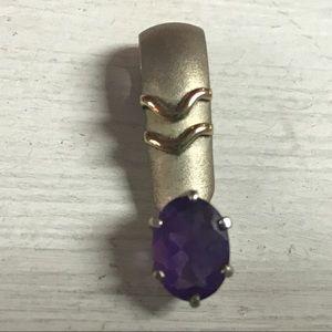 "14k gold pendant amethyst stone marked 1"""